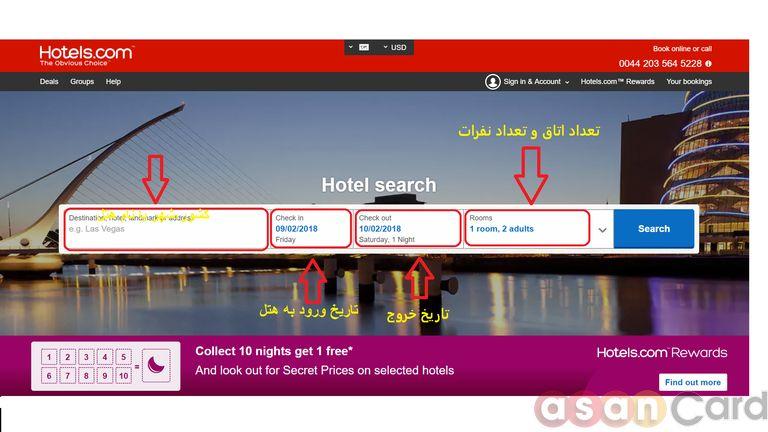 چگونگی رزرو هتل از hotels.com مرحله اول - آسان کارت